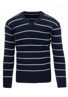 Pánsky pásikavý sveter v čiernej farbe s výstrihom V