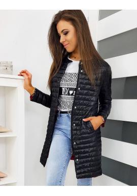 Dámska prešívaná bunda bez kapucne v čiernej farbe
