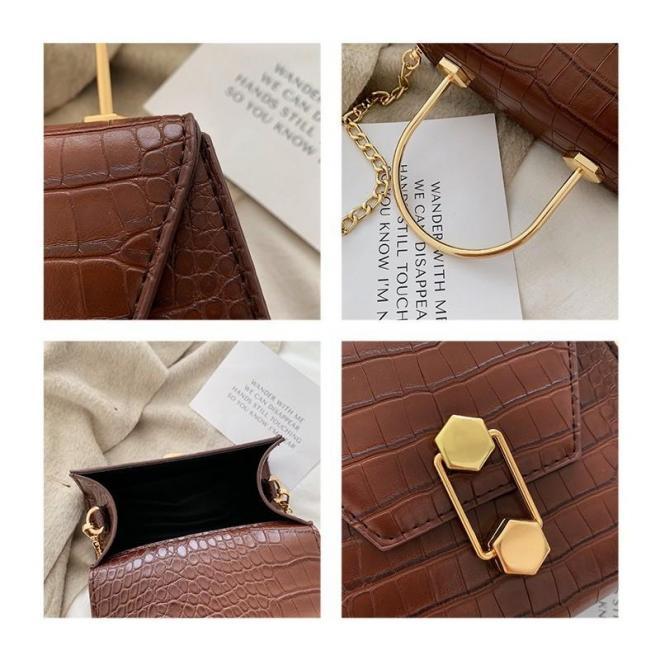 Čierna štýlová kabelka s motívom hadej kože pre dámy