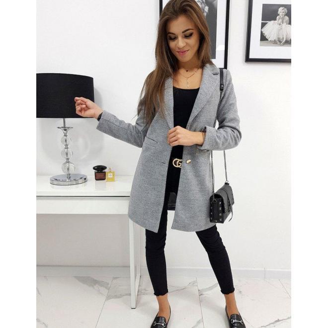 Sivý jednoradový kabát na jar pre dámy