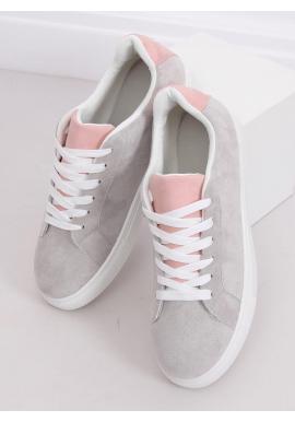 Dámske semišové tenisky s ružovými doplnkami v sivej farbe