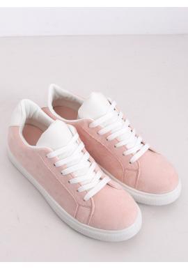 Ružové semišové tenisky s bielymi doplnkami pre dámy