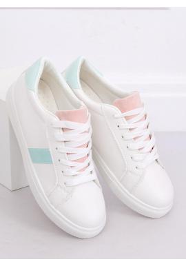 Dámske klasické tenisky s farebnými doplnkami v bielo-ružovej farbe