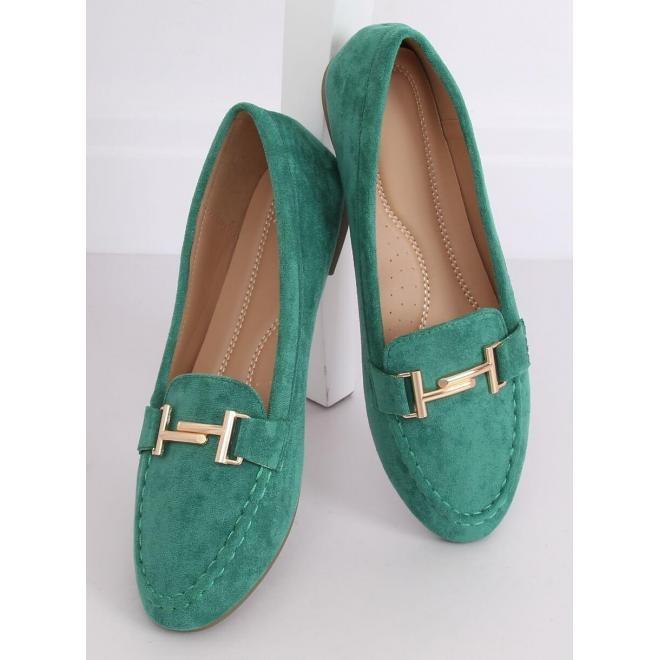 Zelené semišové mokasíny so zlatou ozdobou pre dámy