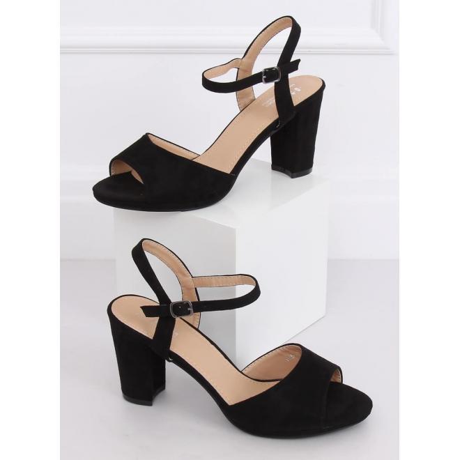 Dámske semišové sandále na stablinom podpätku v čiernej farbe