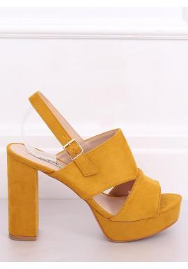 Dámske semišové sandále na podpätku v žltej farbe