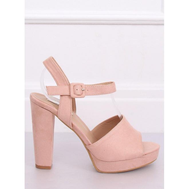 Ružové semišové sandále na vysokom podpätku pre dámy