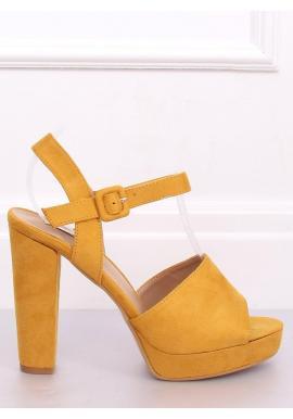 Dámske semišové sandále na vysokom podpätku v žltej farbe