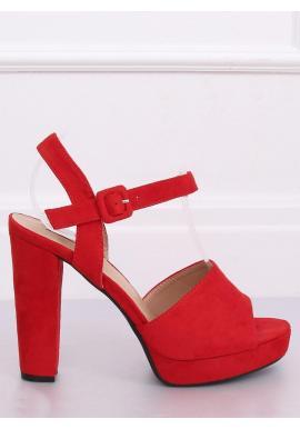 Červené semišové sandále na vysokom podpätku pre dámy