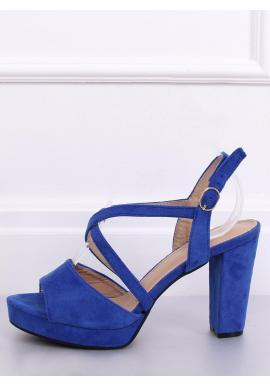 Modré semišové sandále na podpätku pre dámy