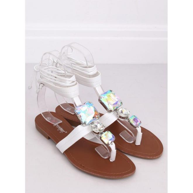 Dámske viazané sandále s kameňmi v bielej farbe