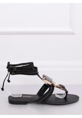 Viazané dámske sandále čiernej farby s kameňmi