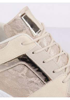 Béžové športové Sneakersy s klinovým opätkom pre dámy
