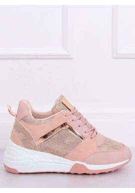 Dámske športové Sneakersy s klinovým opätkom v ružovej farbe