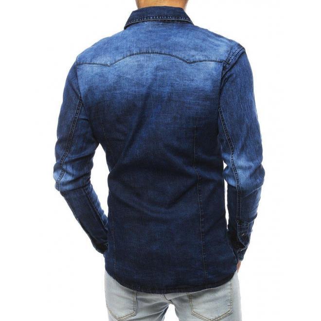 Rifľová pánska košeľa tmavomodrej farby s dlhým rukávom