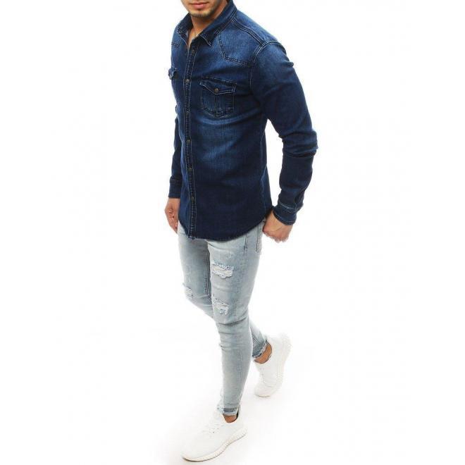Tmavomodrá rifľová košeľa s dlhým rukávom pre pánov