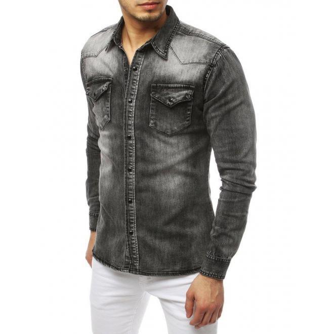 Rifľová pánska košeľa sivej farby s dlhým rukávom