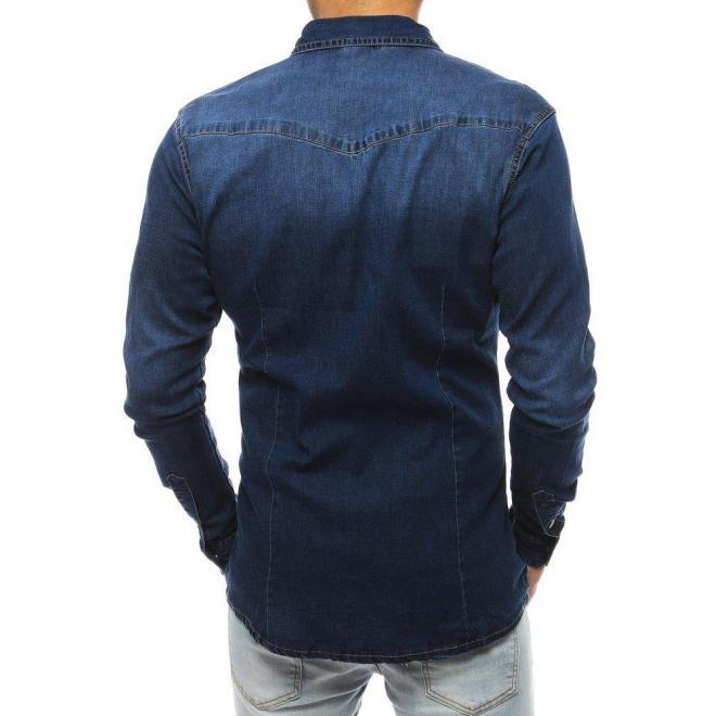 Pánska rifľová košeľa s dlhým rukávom v tmavomodrej farbe