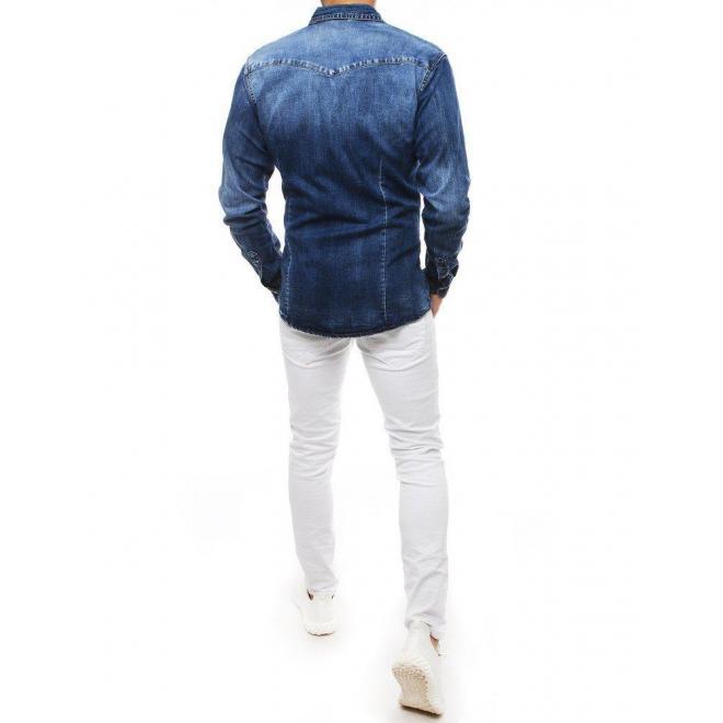 Modrá rifľová košeľa s dlhým rukávom pre pánov