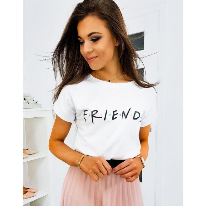 Štýlové dámske tričko bielej farby s nápisom FRIENDS