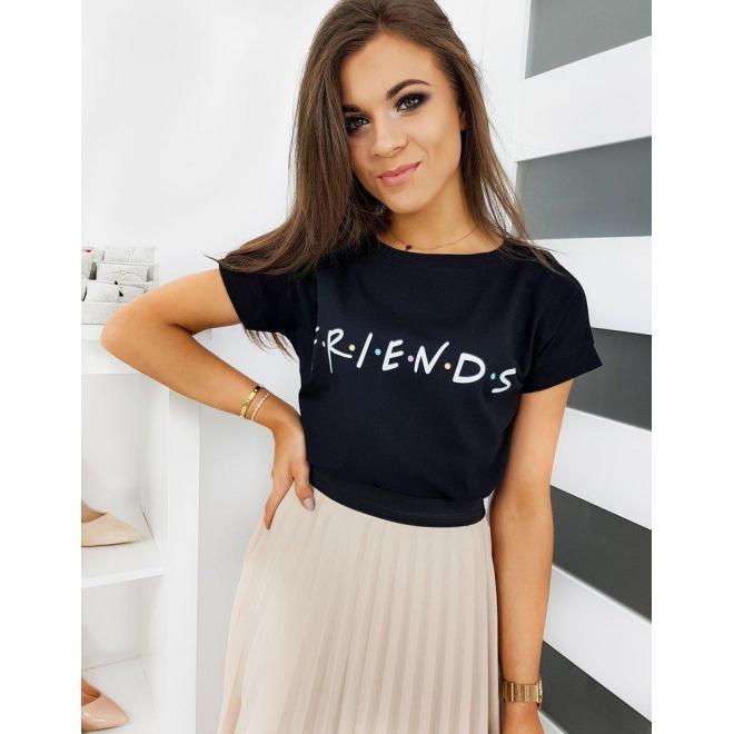 Dámske štýlové tričko s nápisom FRIENDS v čiernej farbe