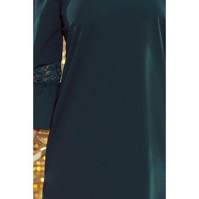 Voľné dámske šaty zelenej farby s čipkou na rukávoch