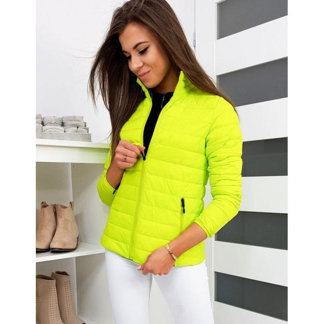 Prešívaná dámska bunda limetkovej farby bez kapucne