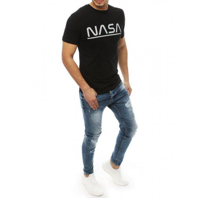 Pánske štýlové tričko s potlačou NASA v čiernej farbe