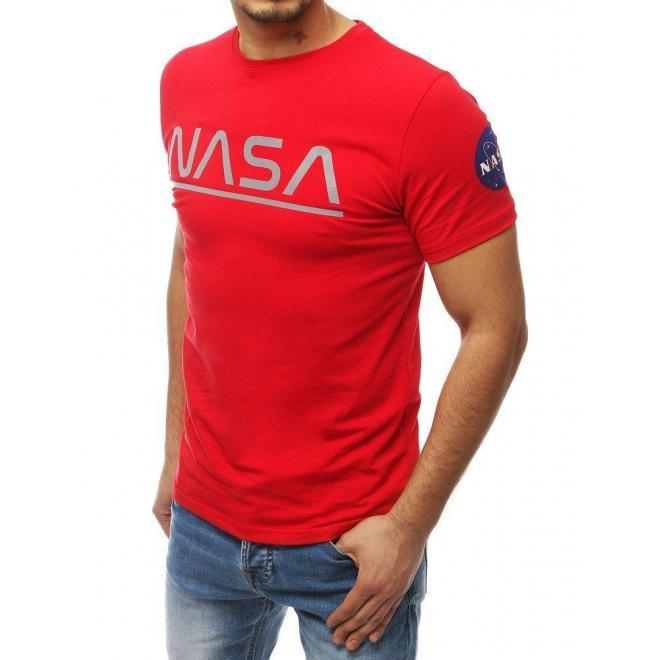 Červené štýlové tričko s potlačou NASA pre pánov
