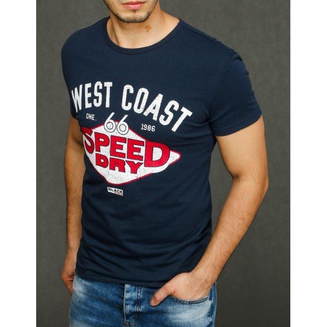 Pánske klasické tričko s potlačou v tmavomodrej farbe