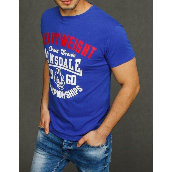 Pánske módne tričká s potlačou v modrej farbe