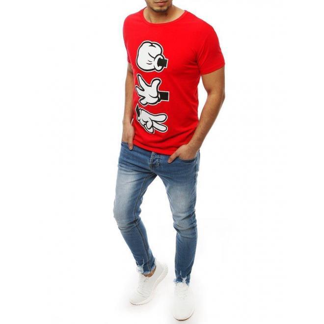 Červené štýlové tričko s potlačou pre pánov