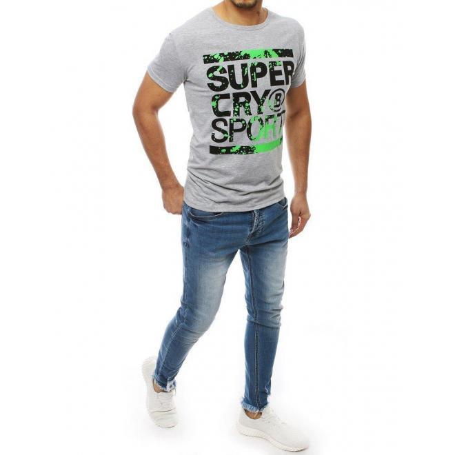 Sivé športové tričko s potlačou pre pánov