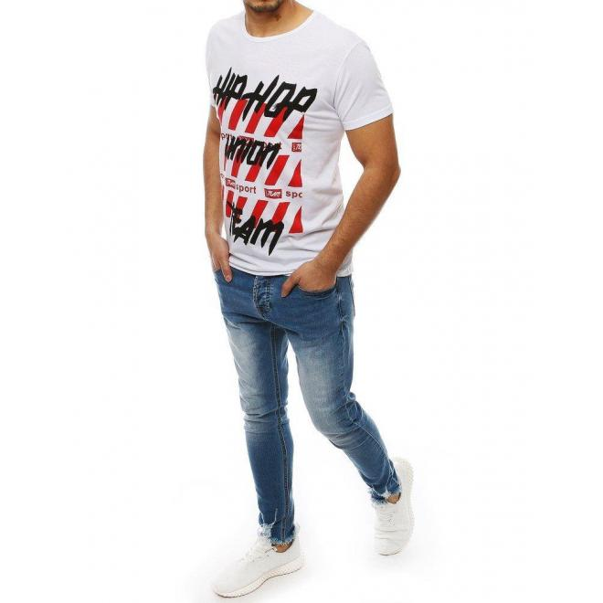 Športové pánske tričká bielej farby s potlačou