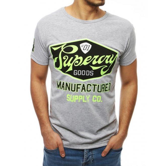 Pánske klasické tričko s potlačou v sivej farbe