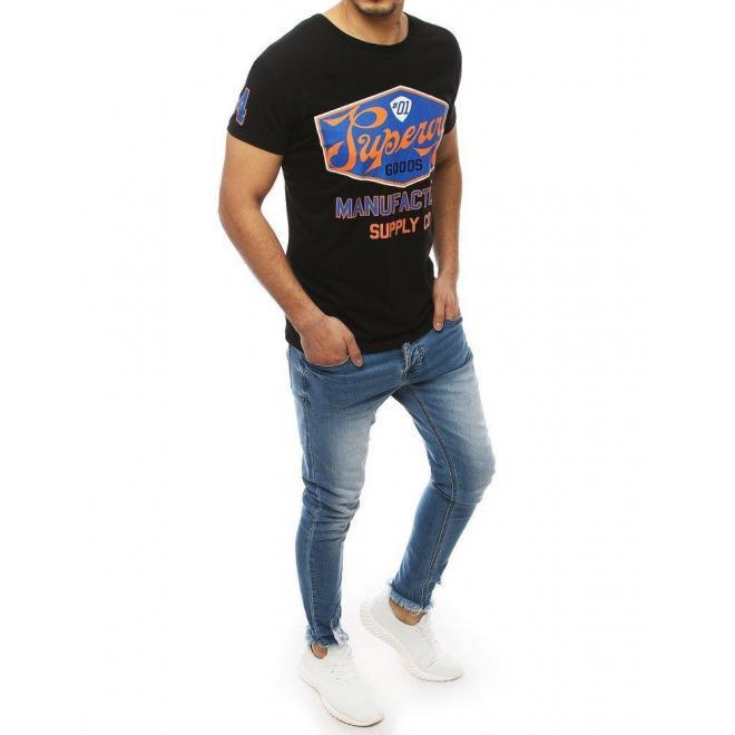 Klasické pánske tričko čiernej farby s potlačou