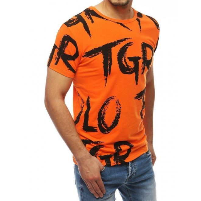 Pánske športové tričko s potlačou v oranžovej farbe