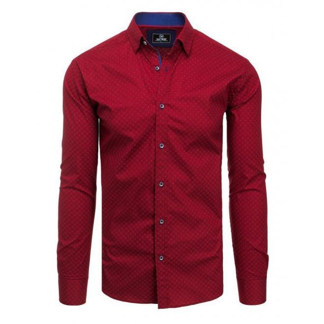 Pánska vzorovaná košeľa s dlhým rukávom v bordovej farbe