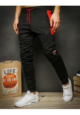 Pánske módne tepláky s potlačou v čiernej farbe