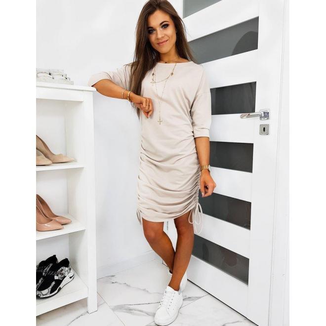 Dámske módne šaty 2 v 1 s 3/4 rukávom v béžovej farbe