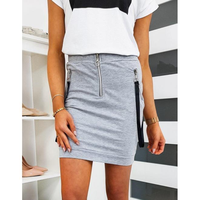 Krátka dámska sukňa sivej farby s remienkami