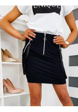 Krátka dámska sukňa čiernej farby s remienkami