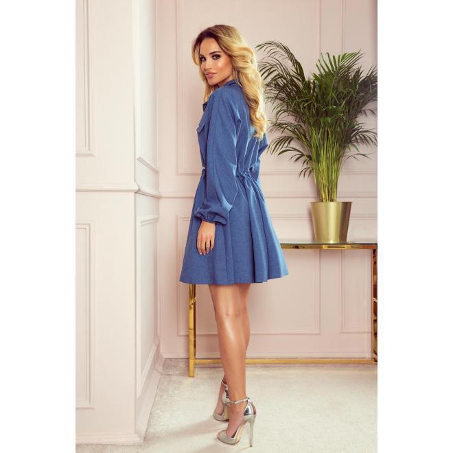 Košeľové dámske šaty modrej farby s dlhým rukávom