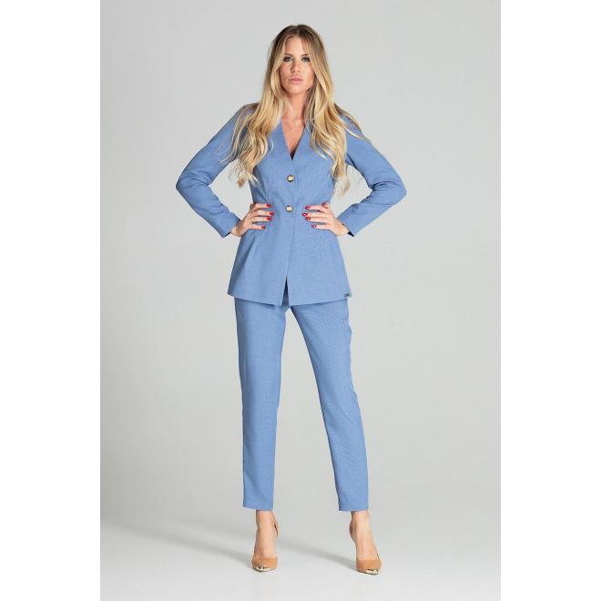 Predĺžené dámske sako modrej farby s dvomi gombíkmi