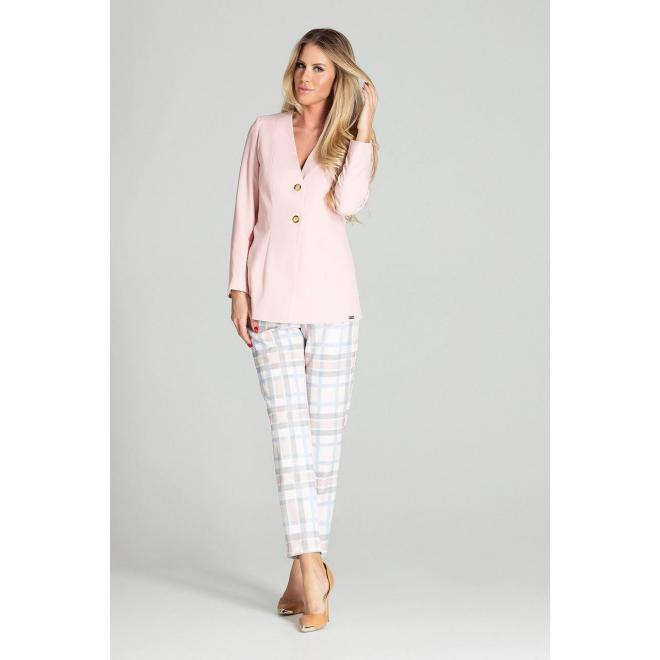 Dámske predĺžené sako s dvomi gombíkmi v ružovej farbe