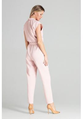 Štýlový dámsky overal ružovej farby s opaskom