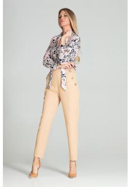Dámske elegantné nohavice s vysokým pásom v béžovej farbe