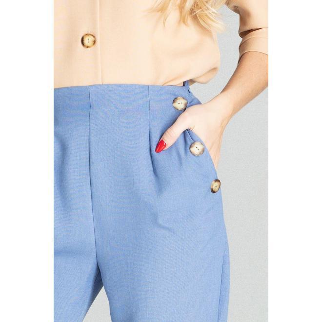 Modré elegantné nohavice s vysokým pásom pre dámy