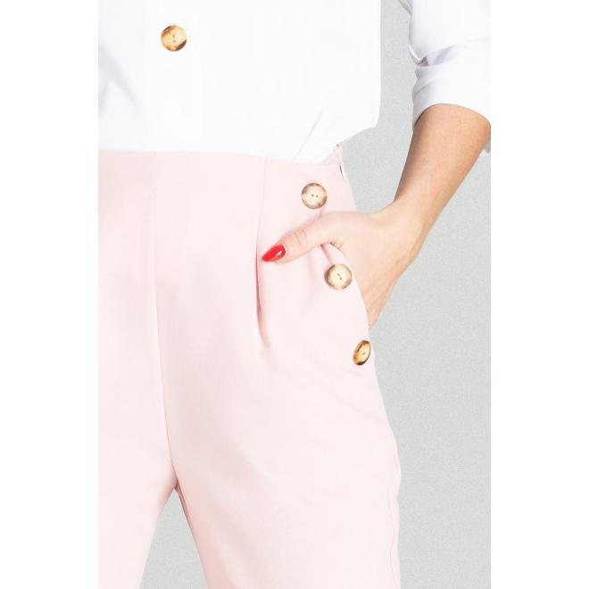 Elegantné dámske nohavice ružovej farby s vysokým pásom
