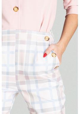 Dámske elegantné nohavice s vysokým pásom a s farebným vzorom